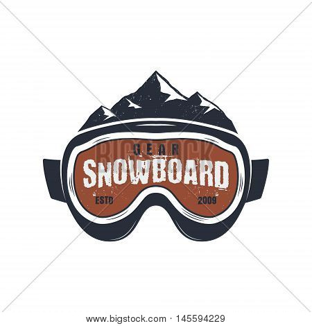 Snowboarding goggles extreme logo and label template. Winter snowboard sport store badge. Emblem and icon. Mountain Adventure insignia, patch. Vector vintage bright palette. Retro design.