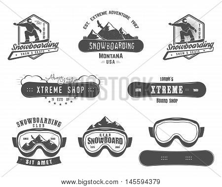 Set of Snowboarding extreme logo and label templates. Winter snowboard sport store badge. Emblem and icon. Mountain adventure insignia, patch. Vector vintage monochrome style. Retro design.