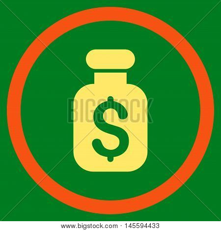 Business Remedy vector bicolor rounded icon. Image style is a flat icon symbol inside a circle, orange and yellow colors, green background.