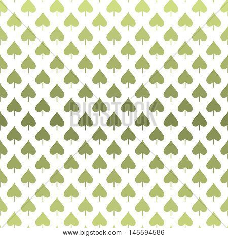 Seamless pattern with abstract leaves in different tints of green colors from smooth transition from light to dark on white background