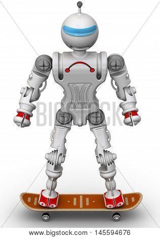 Humanoid robot on a skateboard. Isolated. 3D Illustration