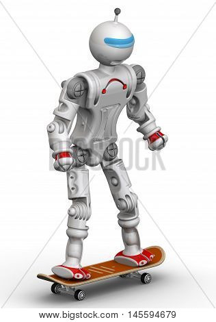 Humanoid robot on a skateboard. Isolated. 3D Illustration