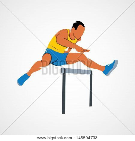 Man jumping over hurdles Branding Identity Corporate vector logo design template Isolated on a white background. Vector illustration.