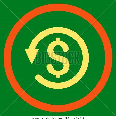 Chargeback vector bicolor rounded icon. Image style is a flat icon symbol inside a circle, orange and yellow colors, green background.