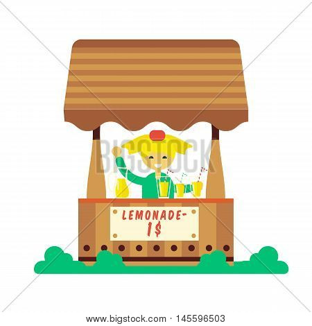 Children making money. Young entrepreneur kid selling lemonade in their first private business. Flat style cartoon vector illustration isolated on white background.