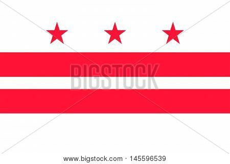 Flag of Washington D.C. formally the District of Columbia of the United States
