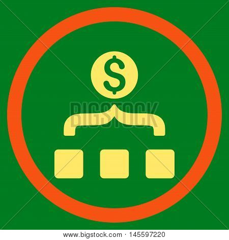 Money Aggregator vector bicolor rounded icon. Image style is a flat icon symbol inside a circle, orange and yellow colors, green background.