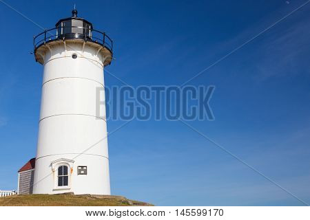 Nobska Light also known as Nobska Point Light is a lighthouse located in Woods Hole on the southwestern tip of Cape Cod Massachusetts.