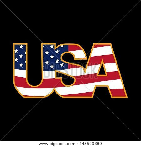 US inscription stylized flag colors in a golden frame on a black background. Vector illustration