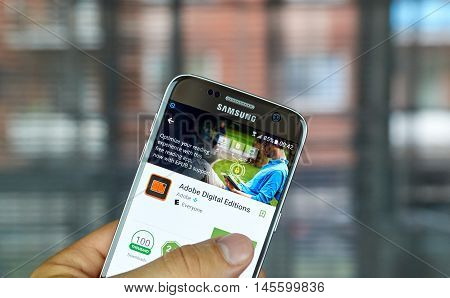MONTREAL CANADA - JULY 2016 : Adobe Digital Editions app on Samsung s7 screen. Adobe Digital Editions is a free application for reading publications in PDF and EPUB format