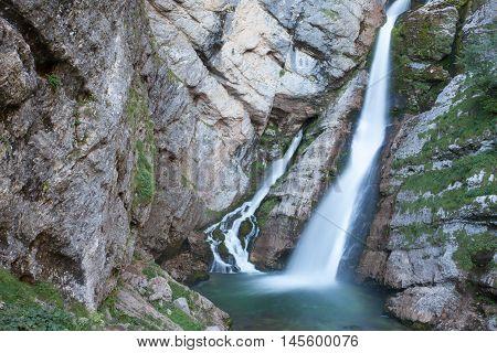 Waterfall on Savica river Lake Bohinj Slovenia.