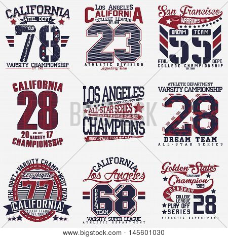Set of t-shirt graphic designs,  vintage print stamps, Sports wear typography emblems, Creative design, Vector