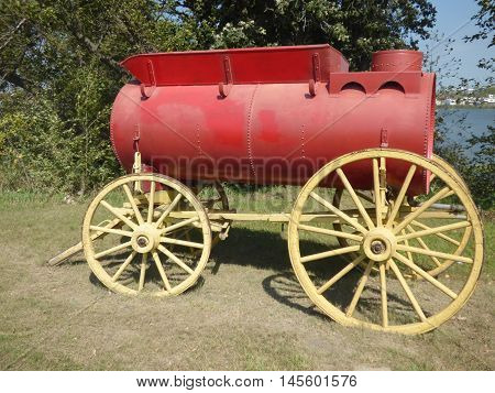 A water wagon used in the stream tractor days to supply water to the steam tractor.
