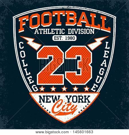 Vintage t-shirt graphic design,  grange print stamp, football typography emblem, sports logo Creative design, Vector