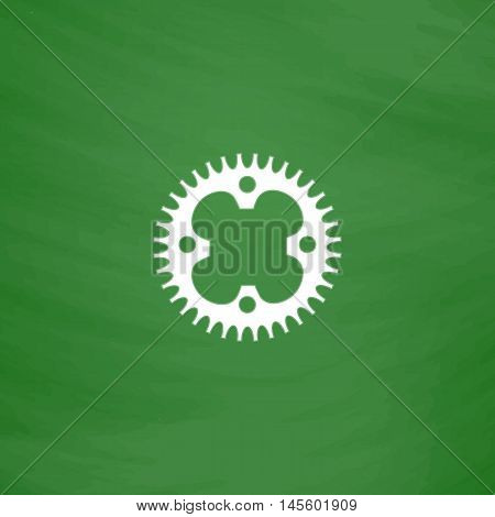 Sprockets Simple vector button. Imitation draw icon with white chalk on blackboard. Flat Pictogram and School board background. Illustration symbol