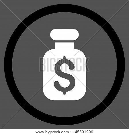 Business Remedy vector bicolor rounded icon. Image style is a flat icon symbol inside a circle, black and white colors, gray background.