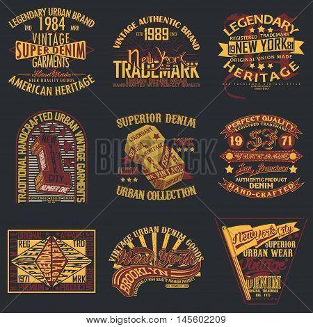 Set of Vintage typography, t-shirt graphics, apparel stamps, tee print design, vintage emblems of denim goods, vector