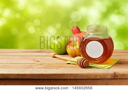 Jewish holiday Rosh Hashana (new year) celebration with honey