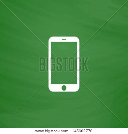 mini tablet Simple vector button. Imitation draw icon with white chalk on blackboard. Flat Pictogram and School board background. Illustration symbol