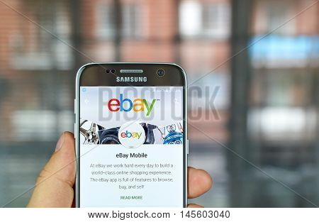 MONTREAL CANADA - August 8 2016 - Ebay mobile app on S7. Ebay is an American multinational corporation and e-commerce company providing consumer-to-consumer and business-to-consumer sales services