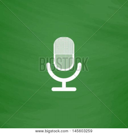 microphone Simple vector button. Imitation draw icon with white chalk on blackboard. Flat Pictogram and School board background. Illustration symbol