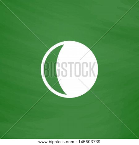 lunation Simple vector button. Imitation draw icon with white chalk on blackboard. Flat Pictogram and School board background. Illustration symbol