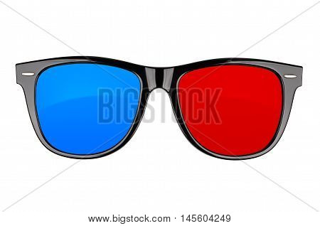 Plastic 3d cinema anaglyph glasses isolated on white. With clipping path