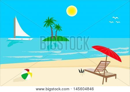 Sunny vacation day in beach, vector, illustration