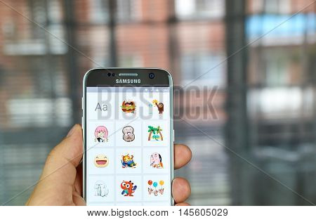 MONTREAL CANADA - AUGUST 24 2016 : Facebook Stickered app. Stickered for Messenger is an official app developed by Facebook that lets you add hundred of stickers to your photos in a very simple way