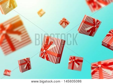 Gift boxes flying. Shopping sale concept background