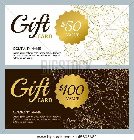 Vector Gift Voucher Template With Golden Outline Fall Leaves. Gold, Black And White Autumn Holidays