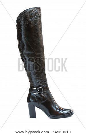 Black Leather Jackboot Isolated On White