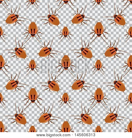 Seamless pattern cockroach on a checkered background. Cockroach, beetle, vector illustration