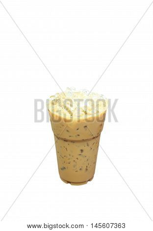 Iced coffee in plastic cup isolated on white background / coffee sweet