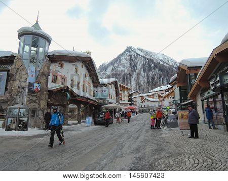 Samnaun, Switzerland, March 1, 2014: in the village of Samnaun, Switzerland.