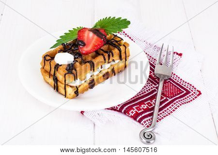 Sweet Tasty Viennese Waffles Studio Photo on Plate