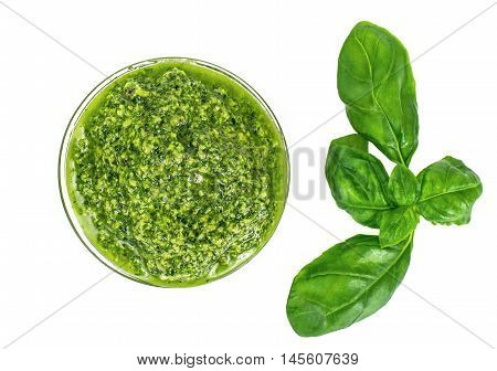 Pesto Sauce with Basil on White Background Studio Photo