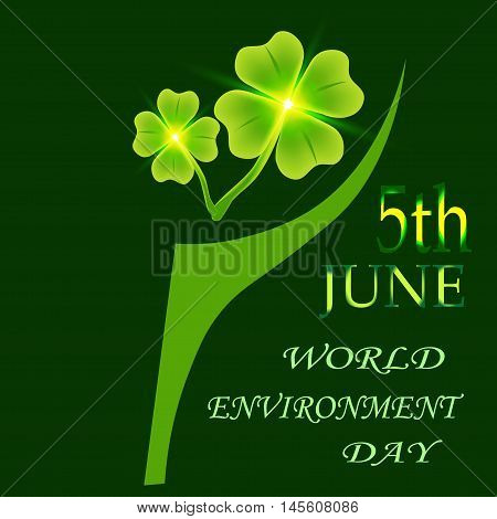 Four leaf clover on a plaid background. Vector illustration on a plaid background. 5th June World Environment Day. St. Patrick's day symbol