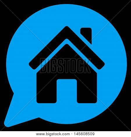 House Mention icon. Vector style is flat iconic symbol, blue color, black background.