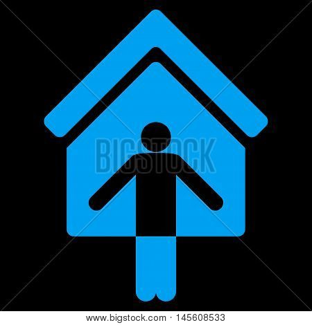 House Owner Wellcome icon. Vector style is flat iconic symbol, blue color, black background.