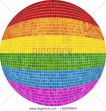 Gay pride Ball in mosaic - Illustration,  Rainbow Sphere vector,   Abstract Grunge LGBT flag in circle