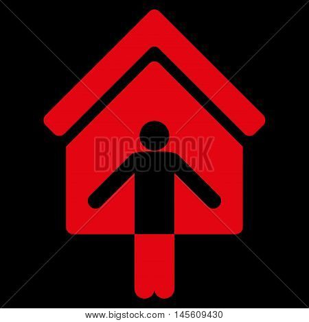 House Owner Wellcome icon. Vector style is flat iconic symbol, red color, black background.