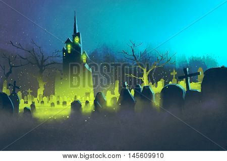spooky castle, Halloween concept, cemetery at night, illustration painting