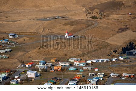 Small village of Vik at Iceland aerial view
