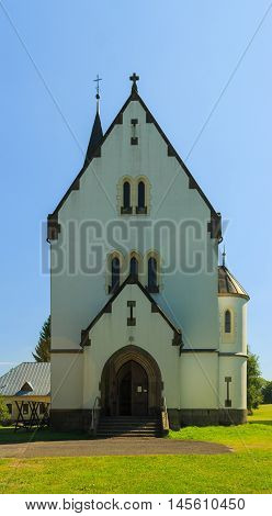 Acquired Thursday 1. September 2016 Horni Maxov Czech Republic the entrance to the Church