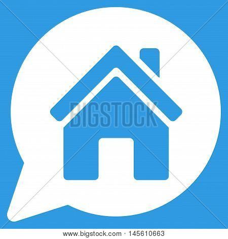 House Mention icon. Vector style is flat iconic symbol white color blue background.