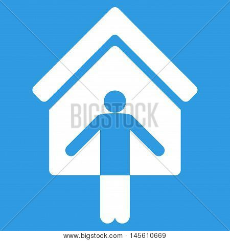 House Owner Wellcome icon. Vector style is flat iconic symbol white color blue background.