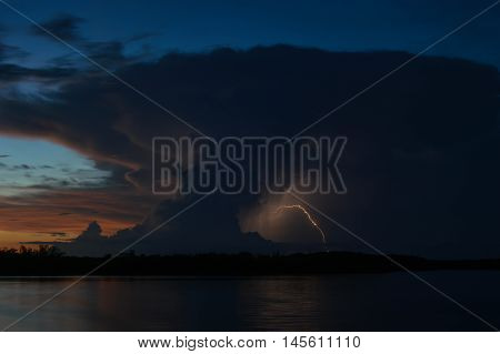 Sunset Cumulonimbus with lightning over the Florida Keys