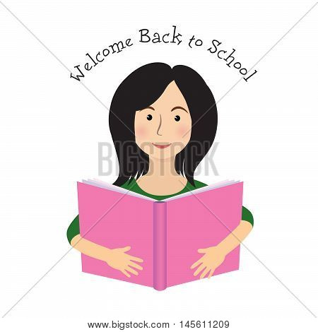 Cheerful smiling littlegirl with the book over white background. Looking at camera. Back to school concept