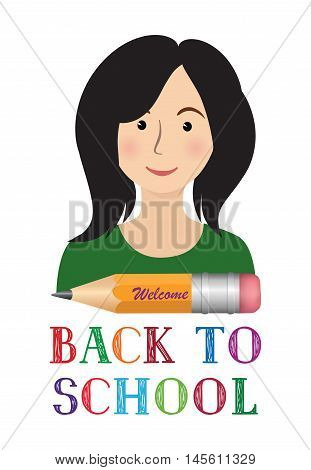 Cheerful smiling little girl with crayon pencil and lettering Back to school on white background. Looking at camera. School concept